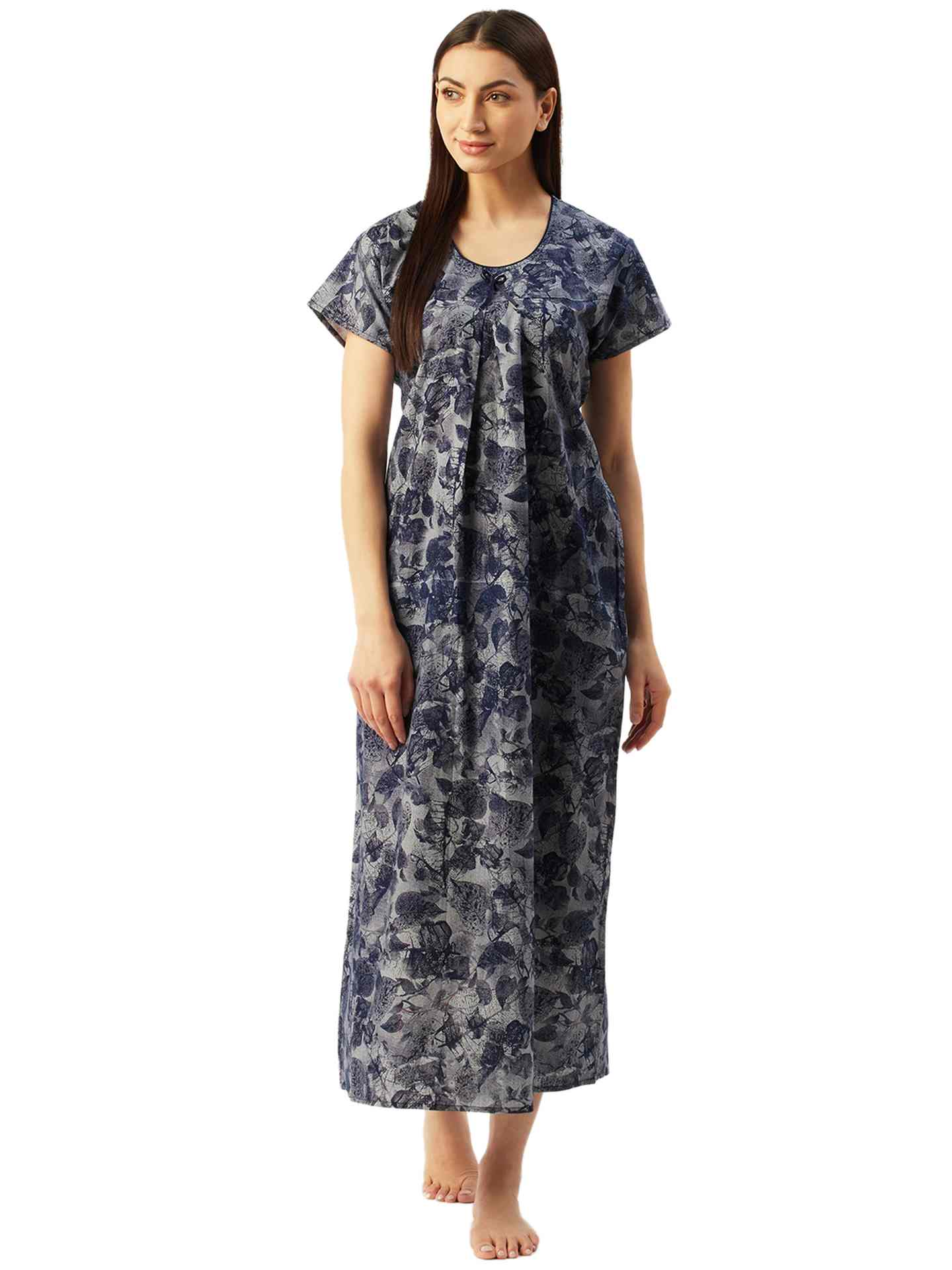 Klamotten Women's Printed Cotton Long Nightdress C7Z28