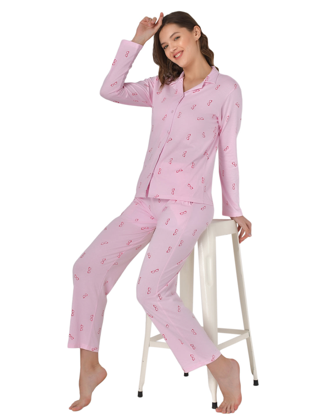 Klamotten Women's Baby Pink Allover Printed Top Pyjama Set N54Rb