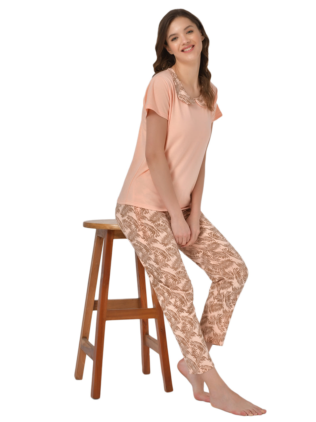 Klamotten Women's Peach Allover Printed Top Pyjama Set N62H