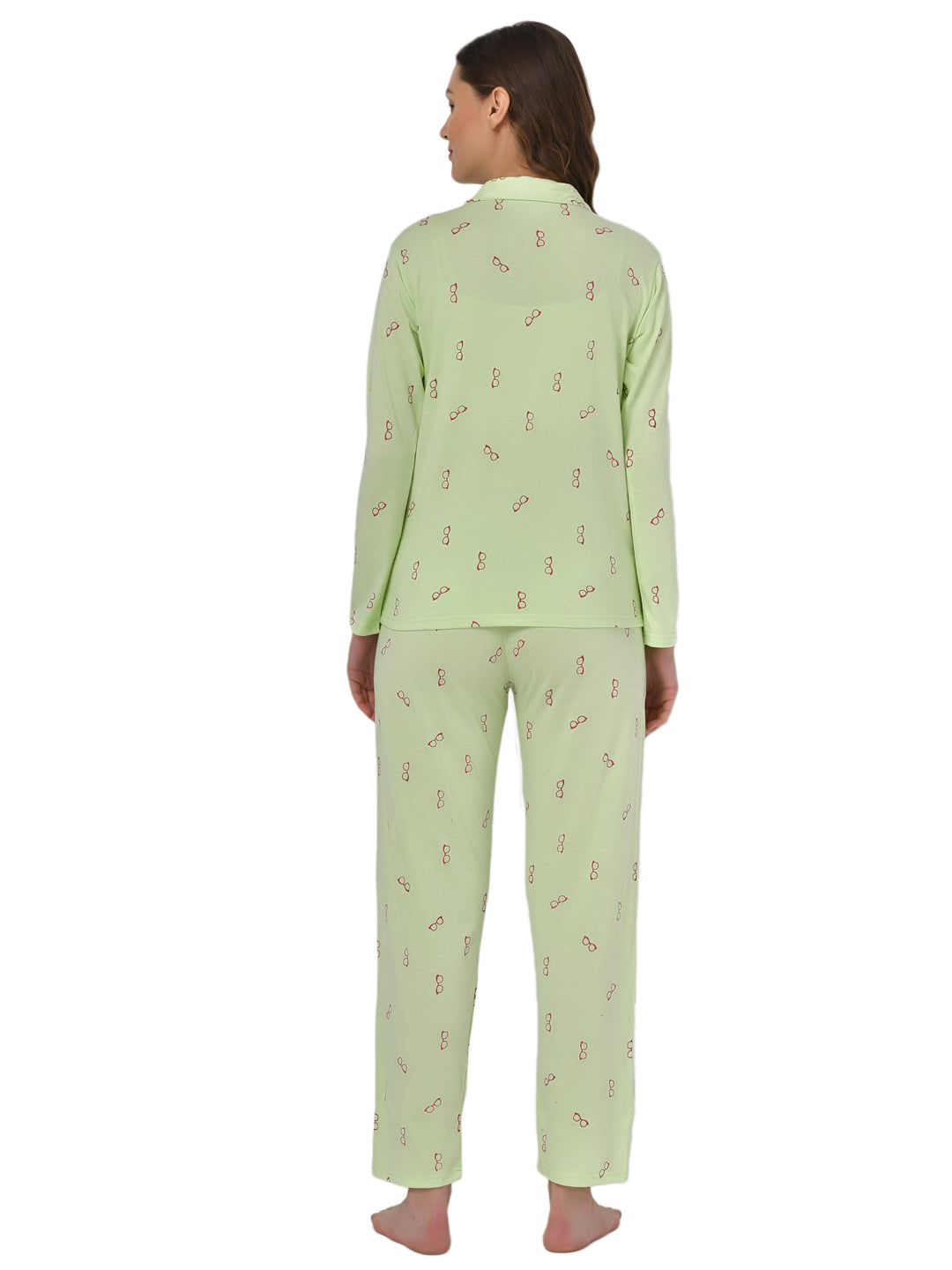 Klamotten Women's Sea Green Allover Printed Top Pyjama Set N54Gs