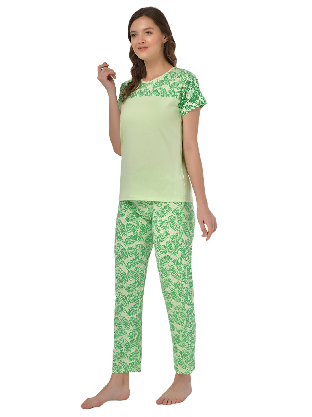 Klamotten Women's Sea Green Allover Printed Top Pyjama Set N32Gs
