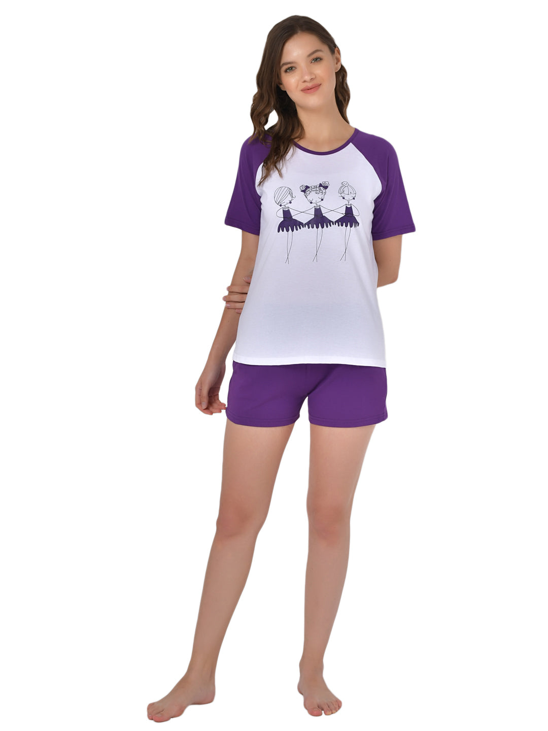 Klamotten Women's White Purple Graphic Printed Top Shorts Set GM01P