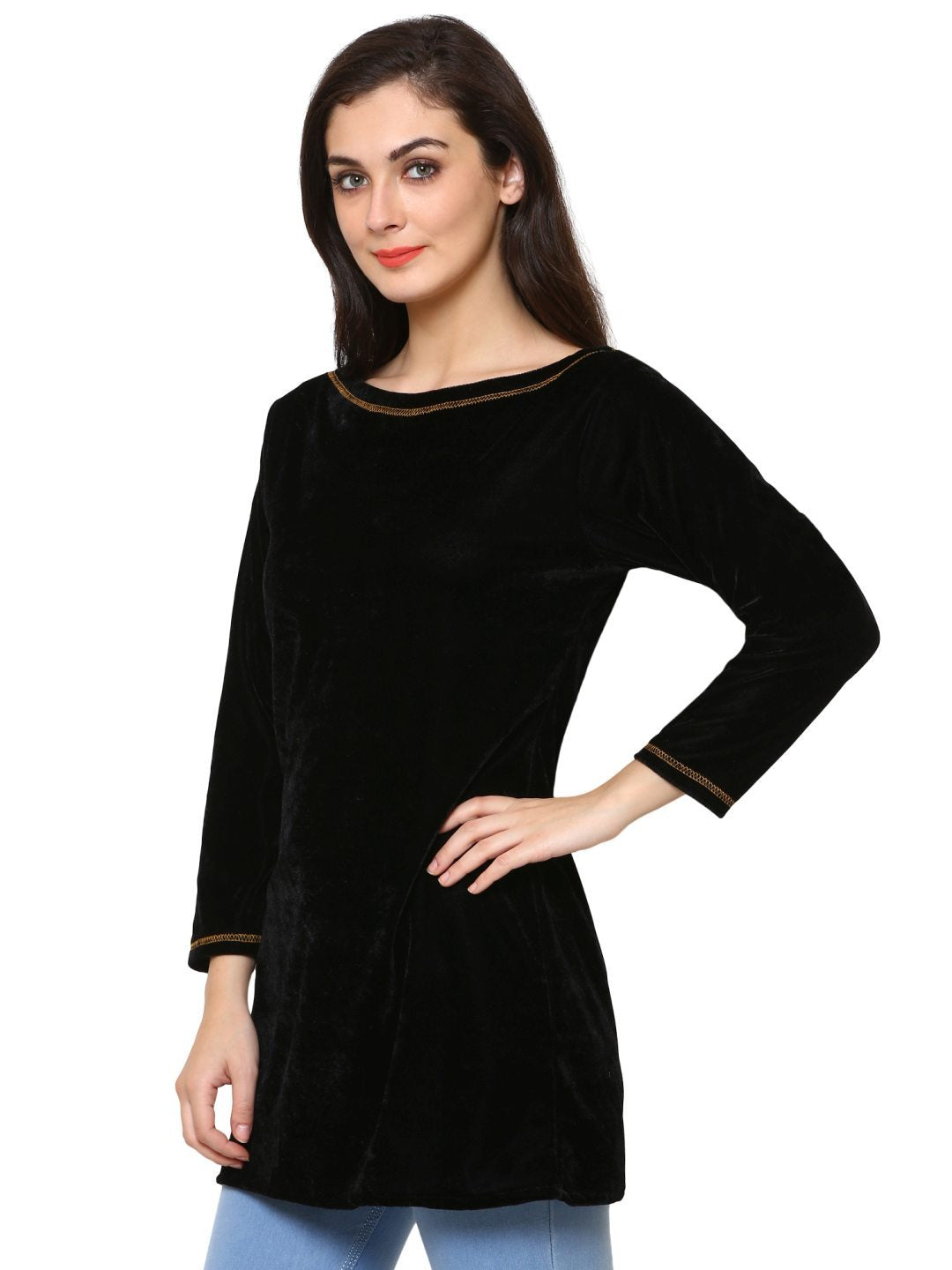 Klamotten Women's Velvet full Sleeves Top WD5K