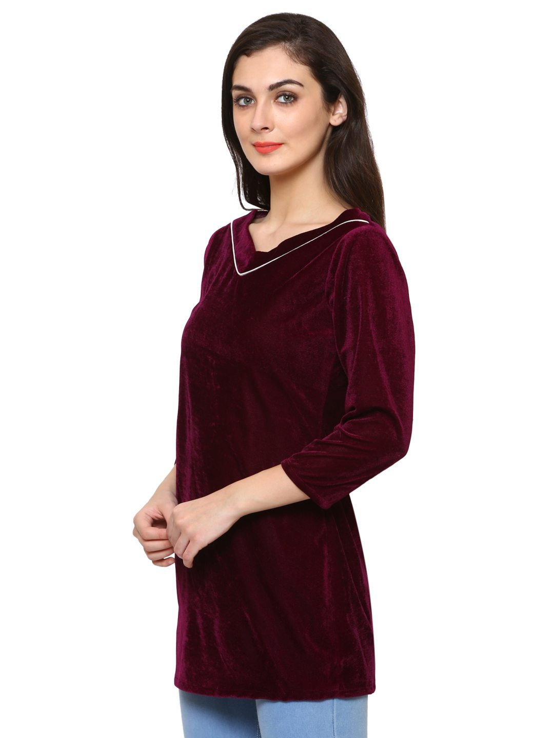 Klamotten Women's Velvet full Sleeves Top WD6J
