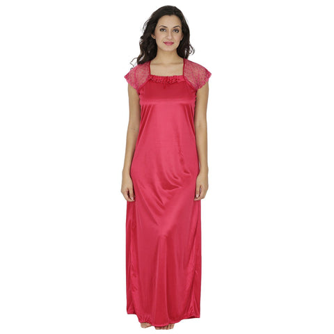 Klamotten Women's Satin Nightdress X10_DPeach