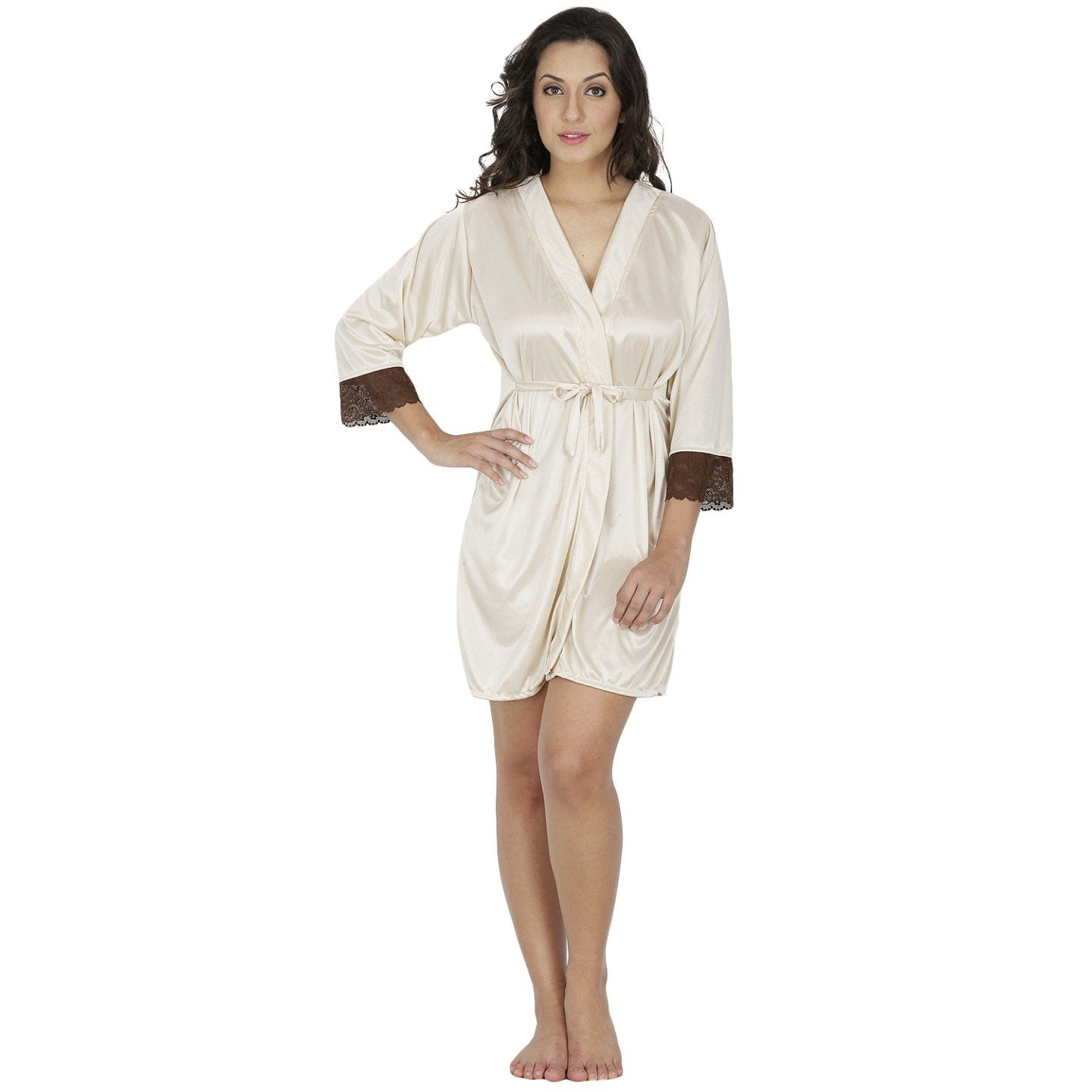 Klamotten Women's Satin Full Sleeves Robe X209_Cream