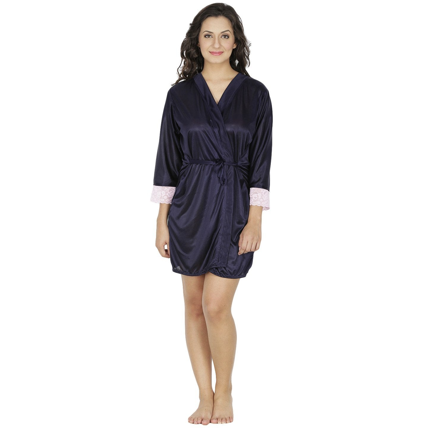 Klamotten Women's Satin Full Sleeves Robe X209_Navy
