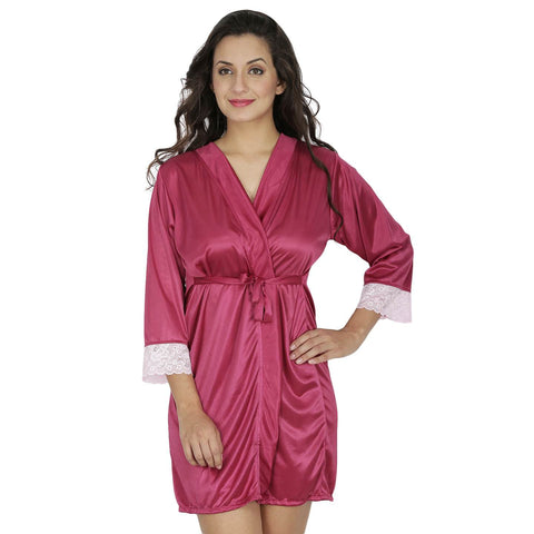 Klamotten Women's Satin Full Sleeves Robe X209_Wine