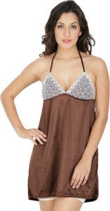 Klamotten Women's Satin & Net Babydoll X208_Brown