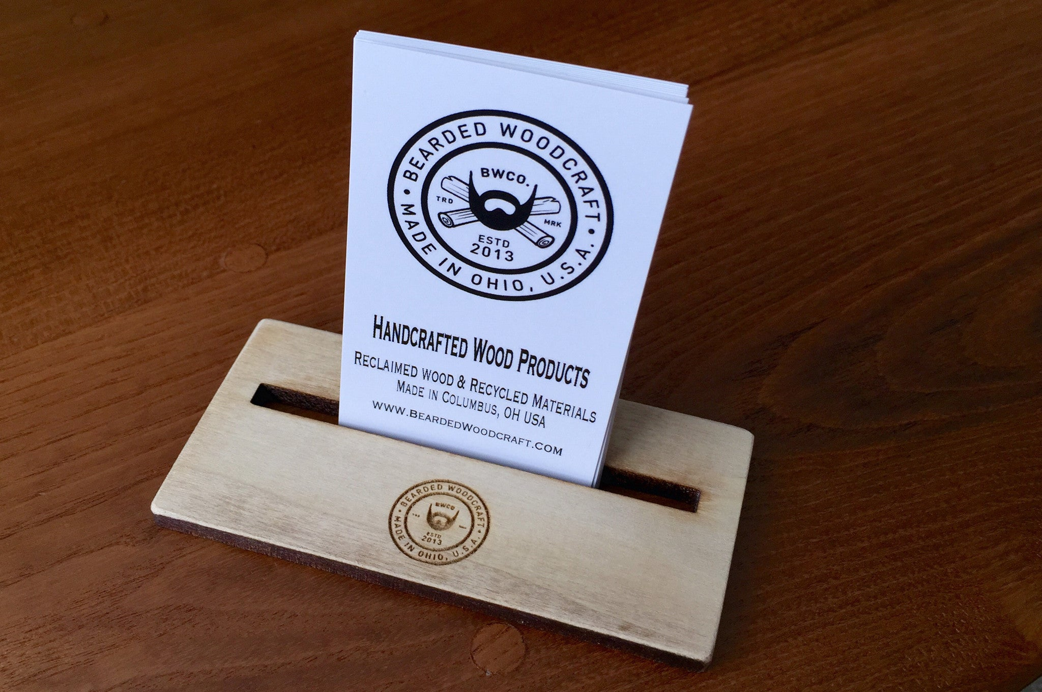 business card holder bearded woodcraft