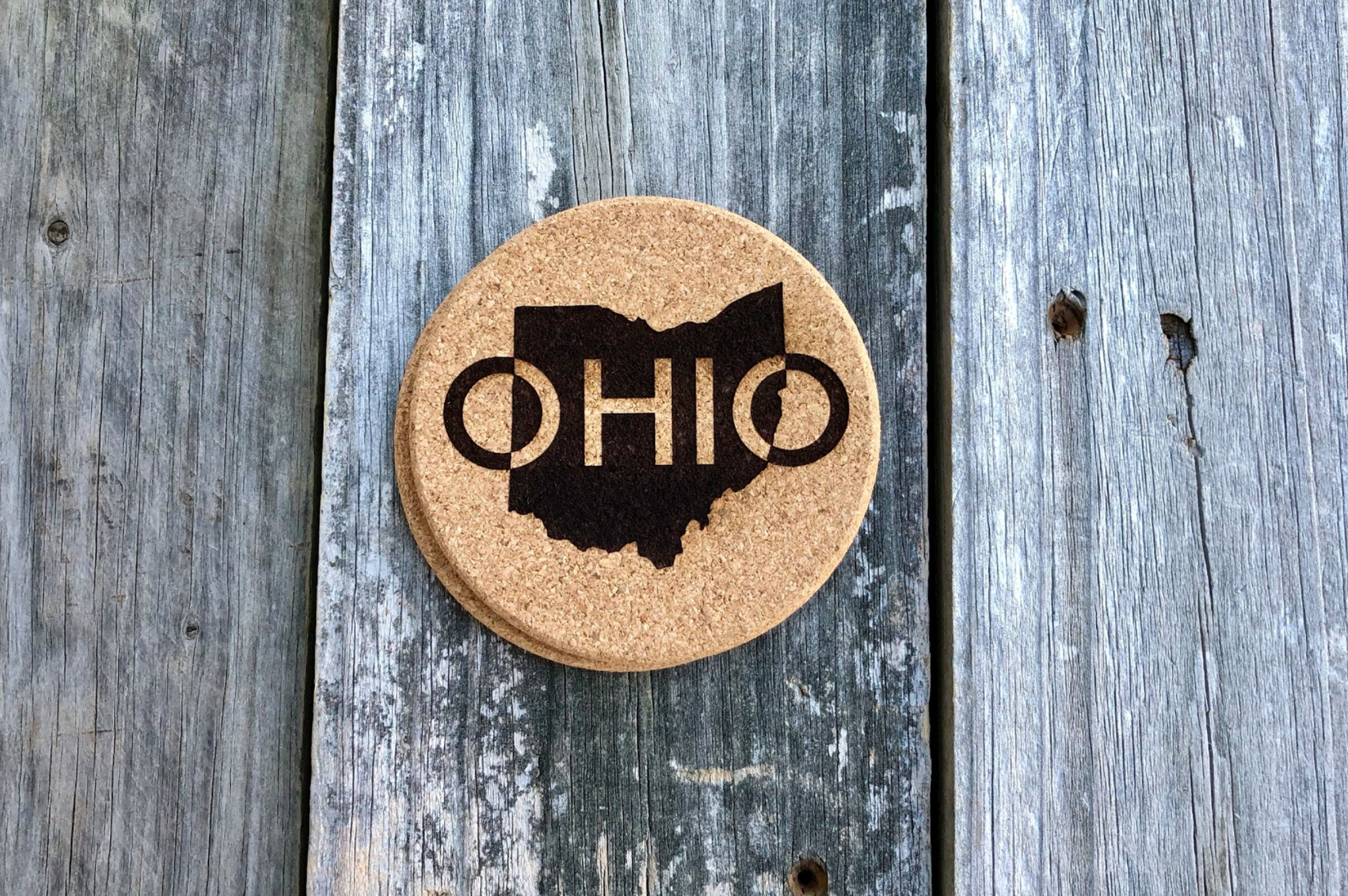 4e40a4f4974 CORK OHIO MAP COASTERS - BEARDED WOODCRAFT