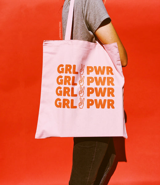 GIRL POWER TOTE BAG - PINK