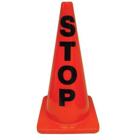 "28"" Message Cone - STOP - Ohio Fitness Garage - Olympia -Message Cones Equipment"