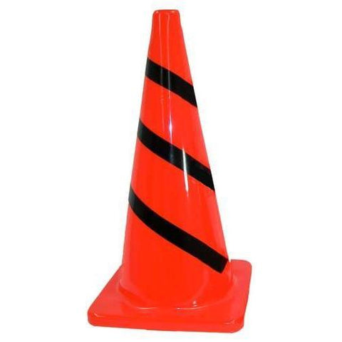 "28"" Striped Traffic Cone - Ohio Fitness Garage - Olympia -Heavyweight Orange Cones Equipment"