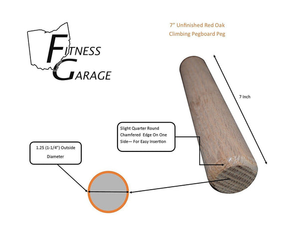 "2 OFG Oak 1.25"" x 7"" Chamfered Replacement Peg Dowel Rod For Climbing Pegboard Sports Ohio Fitness Garage climbing board Climbing Pegboard climbing pegboard for sale climbing pegs climbing wall crossfit Pegboard diy pegboard fitness pegboard pegboard fitness pegboard plans $27.46 Ohio Fitness Garage"