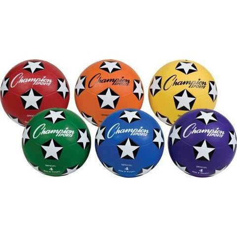 Champion Sports - Colored Soccer Balls - Size 4 (Set of 6) - Ohio Fitness Garage - Olympia -Budget Soccer Balls Equipment