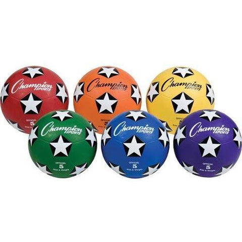 Champion Sports - Colored Soccer Balls - Size 5 (Set of 6)