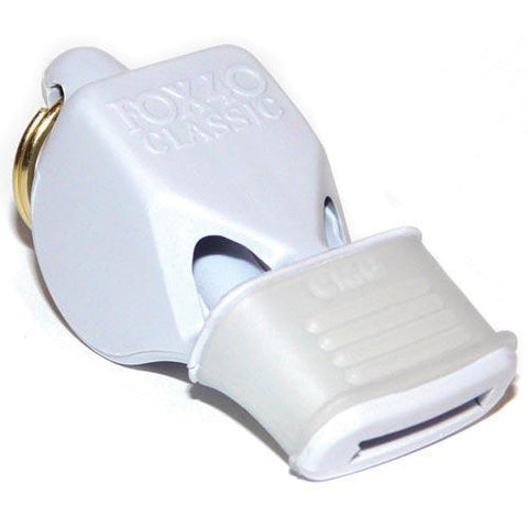 Fox Classic CMG Officials Whistle & Lanyard - White - Ohio Fitness Garage - Olympia -Fox Classic Official's Whistles w/ Mouth Grip Equipment