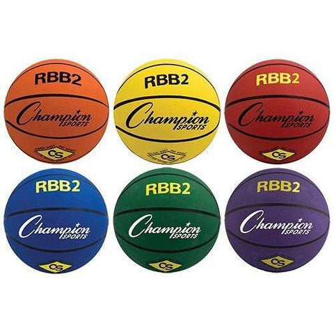 Set of 6 Colored Basketballs - Jr. Size - Ohio Fitness Garage - Olympia -Rubber Basketballs Equipment