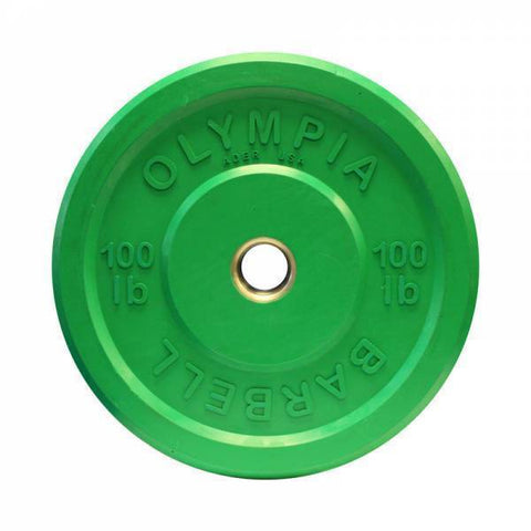 (Single One) Olympic 100 LB Rubber Bumper Plate - Ader Fitness - Ohio Fitness Garage - Ader Fitness -Olympic Weight Plates Equipment