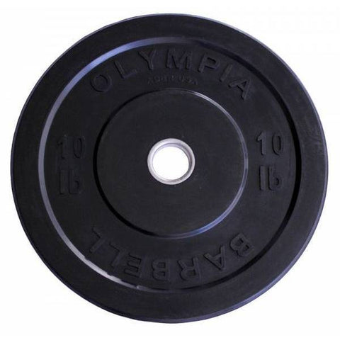 (Single One) Olympic Black OLYMPIA Solid Rubber Bumper Plates - Ader Fitness - Ohio Fitness Garage - Ader Fitness -Olympic Weight Plates Equipment