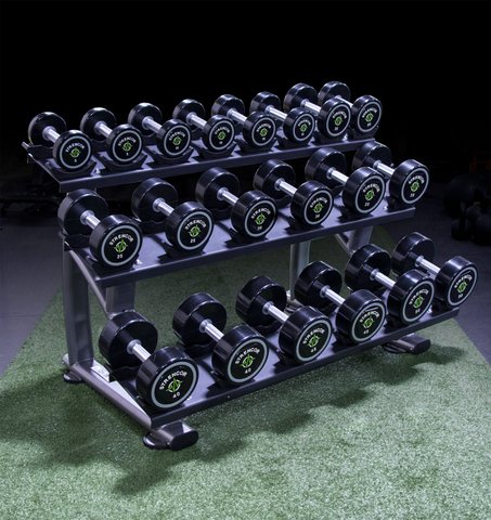 Commercial 3 Tier Dumbbell Rack with Saddles - Strencor