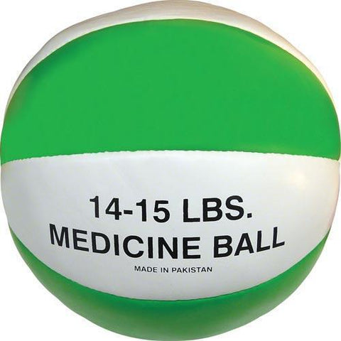Syn. Leather Medicine Ball - 14-15 lbs. (green) - Ohio Fitness Garage - Olympia -Synthetic Leather Medicine Balls Equipment