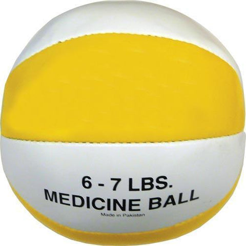 Syn. Leather Medicine Ball - 6-7 lbs. (yellow) - Ohio Fitness Garage - Olympia -Synthetic Leather Medicine Balls Equipment