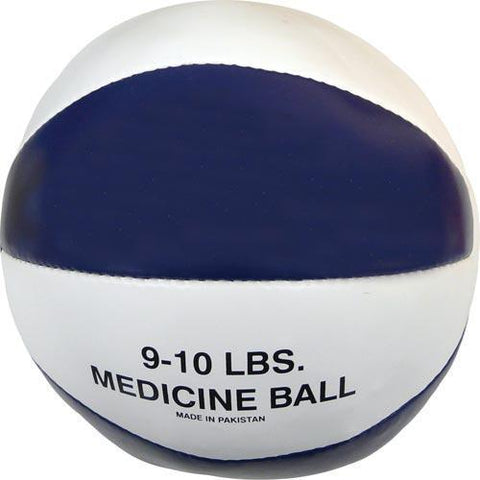 Syn. Leather Medicine Ball - 9-10 lbs. (blue) - Ohio Fitness Garage - Olympia -Synthetic Leather Medicine Balls Equipment
