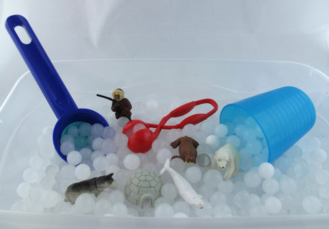 Frozen Sensory Bin Duo with White Water beads and instant snow- 2 in 1 Kit