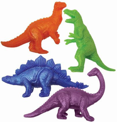 photograph of an orange, green, blue and purple stretch dinosaur of varying dinosaur types.