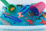 Underwater Sensory Bin Duo with Blue Water beads and Blue jelly Ocean- All Inclusive 2 in 1 Bin.
