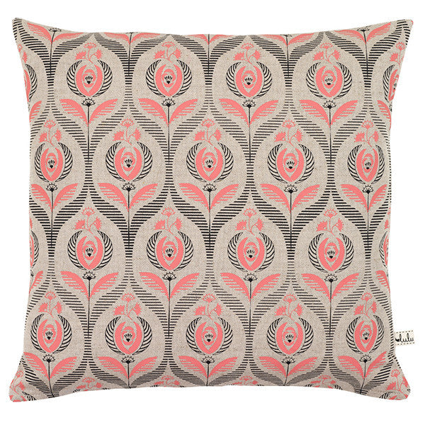 Art Deco Rose Print Cushion in Coral
