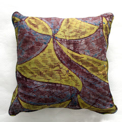 Aubergine and Lime African Adire Cushion