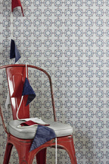 Anchor Tile Wallpaper, Red, White and Blue