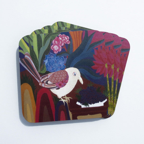 Blackberry Bird Coasters - Set of Four