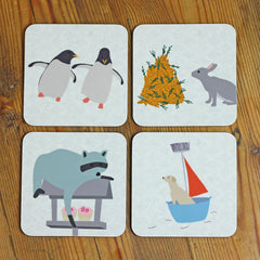 Animal Character Coasters set of 4