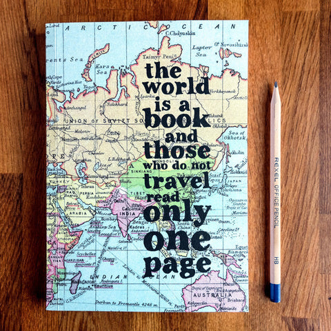 Inspirational Quote Travel Journal 'The world is a book'