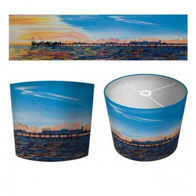 Art Print Fabric Pier Drum Lampshade 40cm Diameter