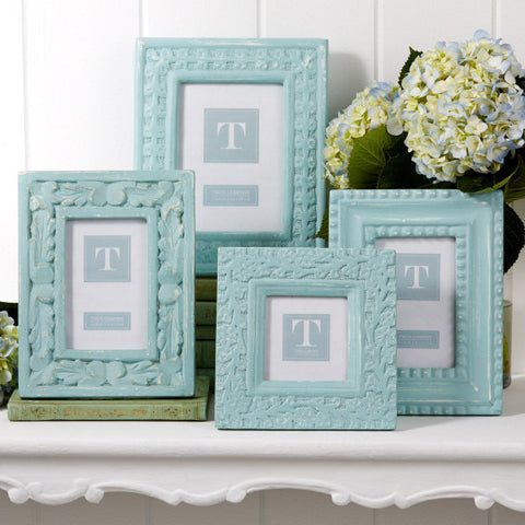 Distressed Aqua Photo Frames - Set of 4