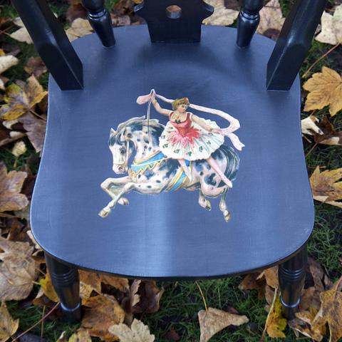 Upcycled Children's Wooden Nursery Chair With Circus Horse