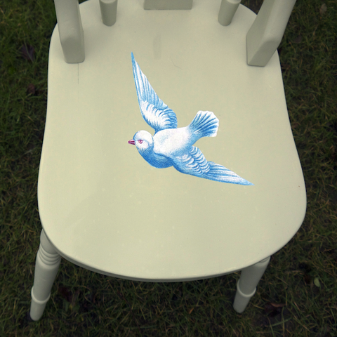 Upcycled Vintage Dining Chair Blue Bird