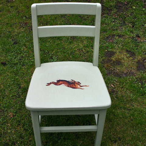 Upcycled Children's Vintage Wooden Chair With Retro Spring Hare