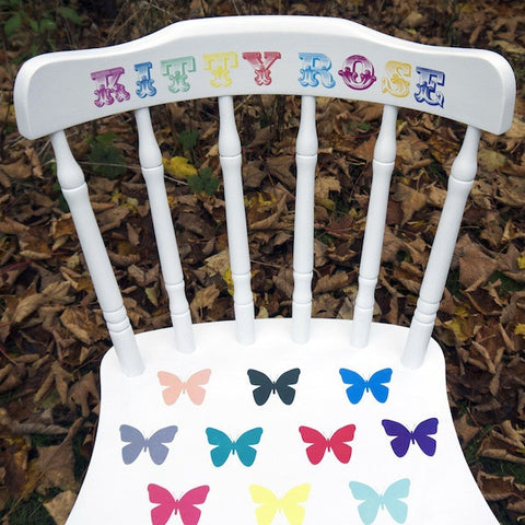 Upcycled Children's Personalised White Vintage Wooden Chair