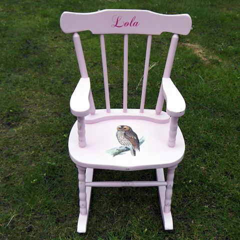 Upcycled Children's Vintage Personalised Pink Rocking Chair