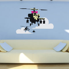 Banksy Apache Helicopter Wall Sticker