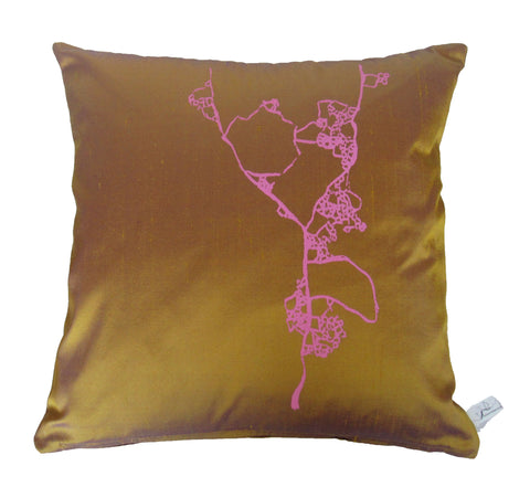 Pink on Ochre Cushion
