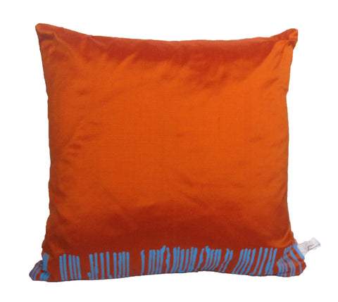 Blue on Orange Cushion