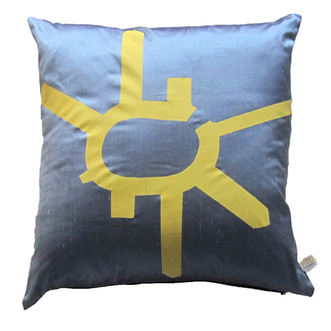 Yellow on Grey Cushion