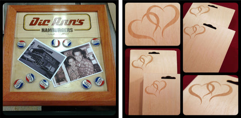 corporate promotional promotion plaques wood engraved shadowbox epoxy memory plaque